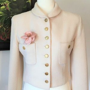 CHANEL NUBBY IVORY JACKET, AND * PINK CAMELLIA